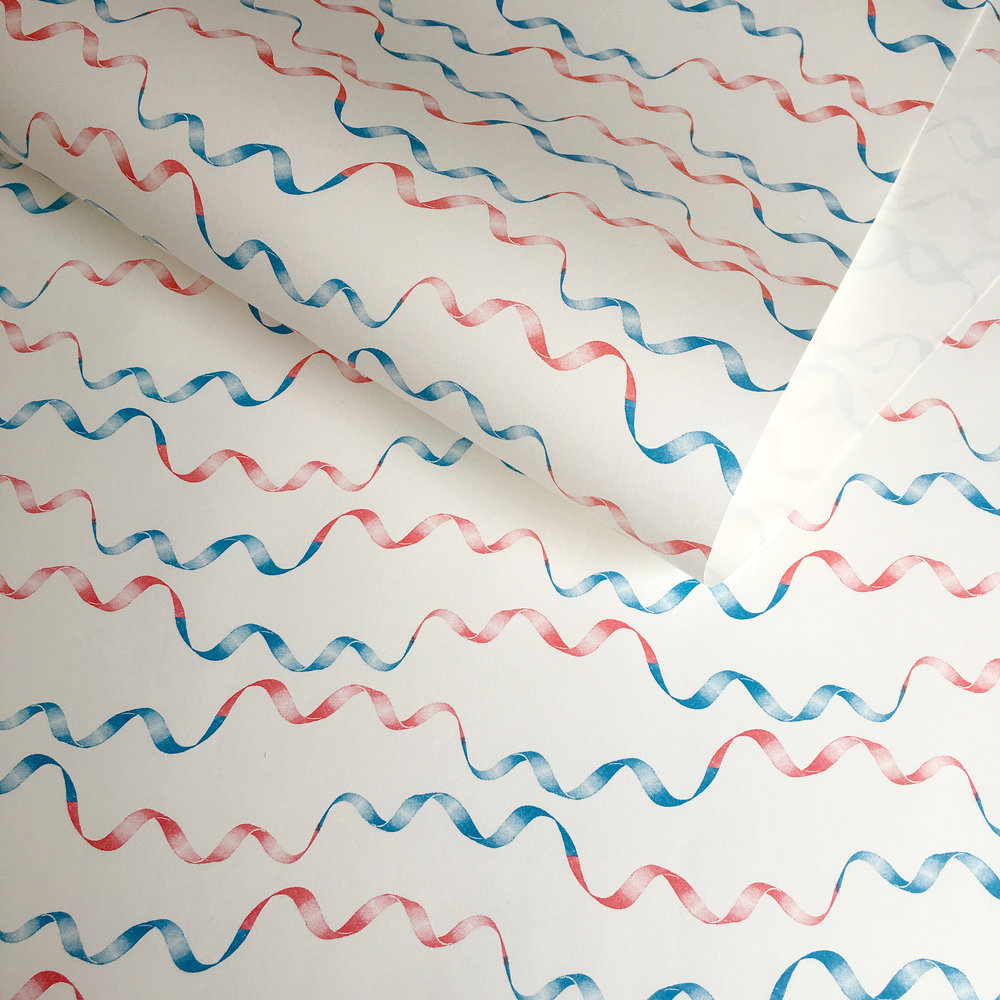 Retro ribbon wrapping paper: WP_RRRB_01