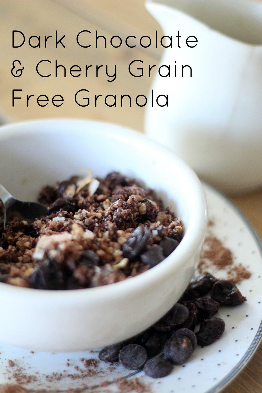 dark chocolate cherry grain free granola 1