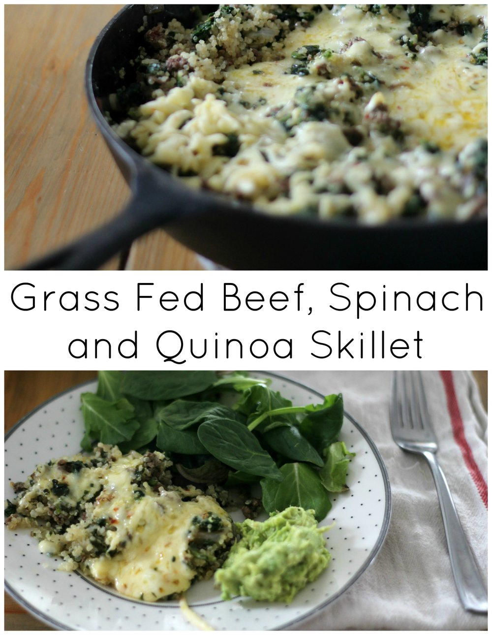 grass fed beef spinach and quinoa skillet