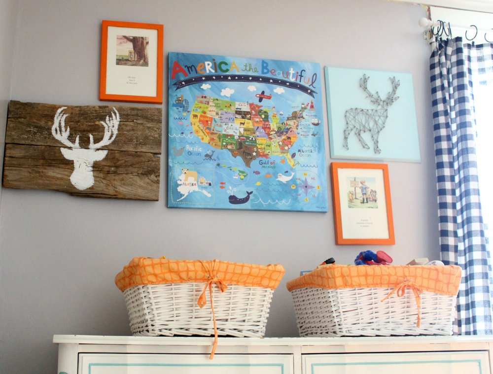 colorful boys room gallery wall