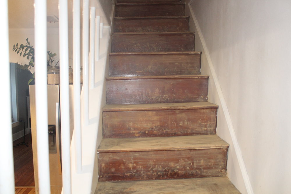 hardwood stairs makeover sanding