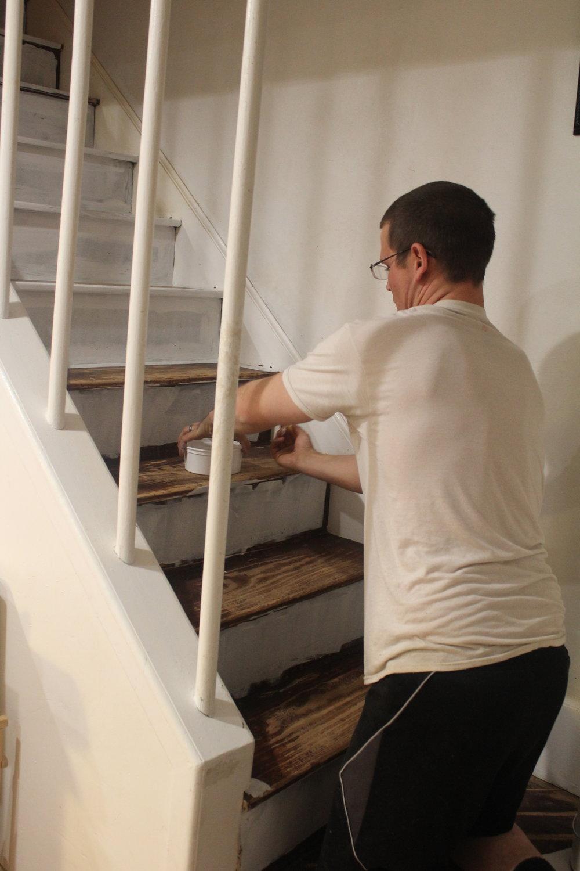 painting hardwood stairs
