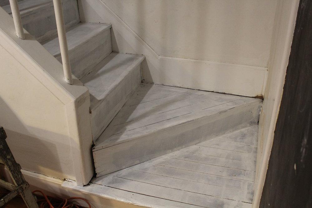 painting hardwood stairs white