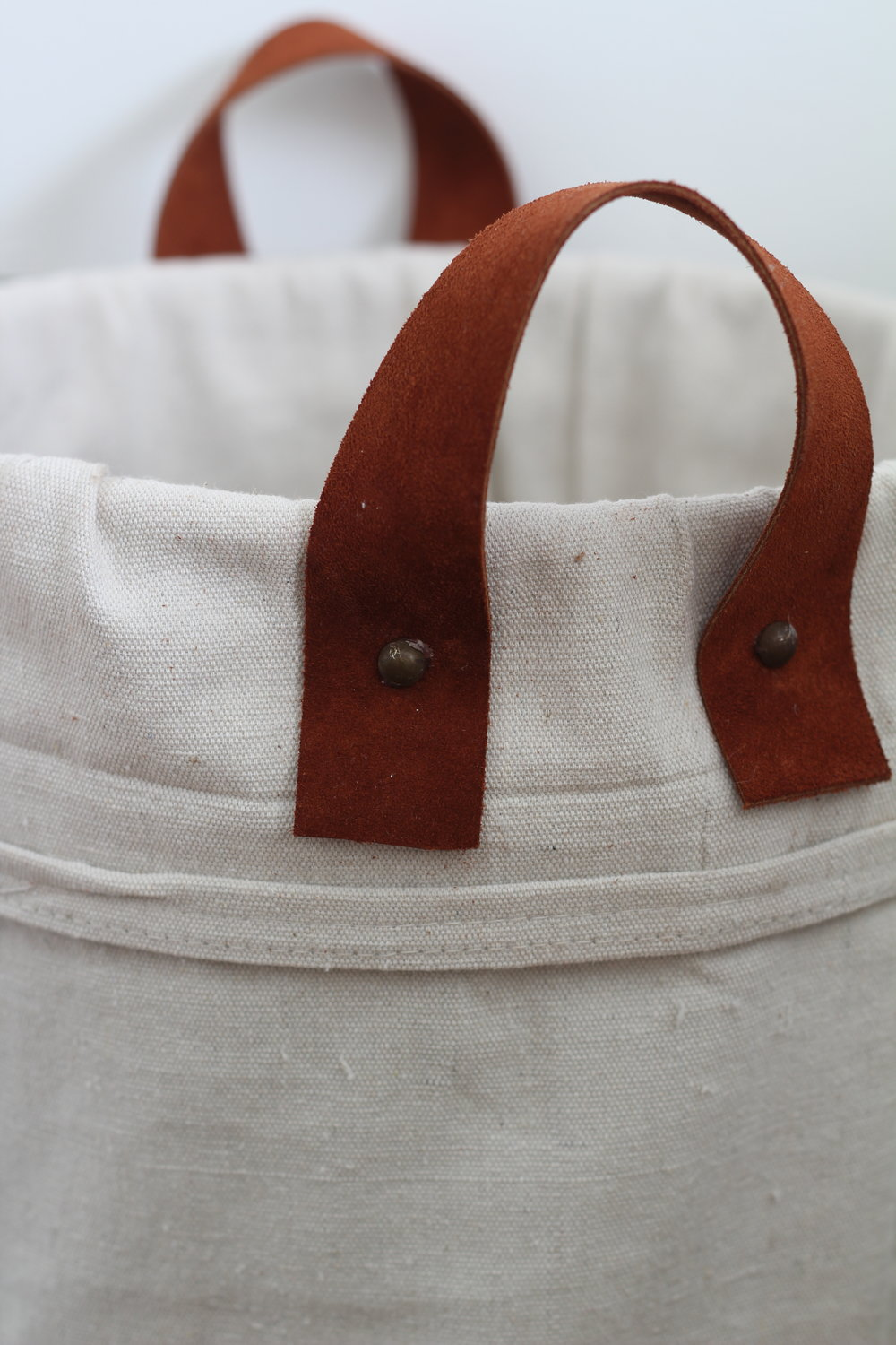 canvas tote with leather handles image