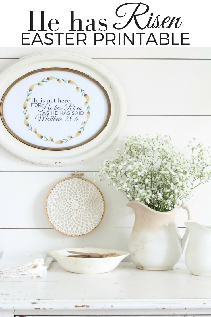 He is Risen Easter Printable farmhouse style