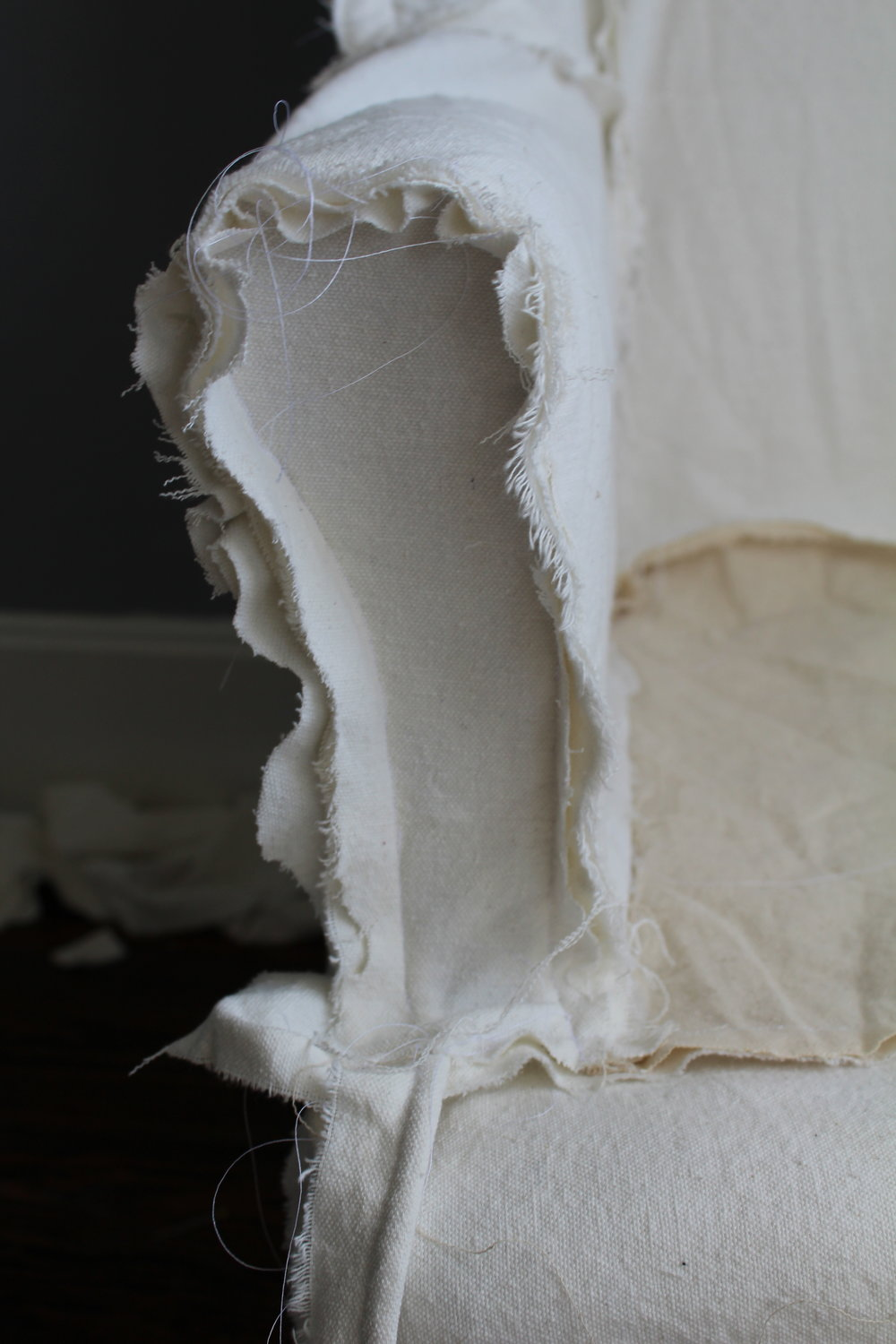 slipcovering a wingback chair