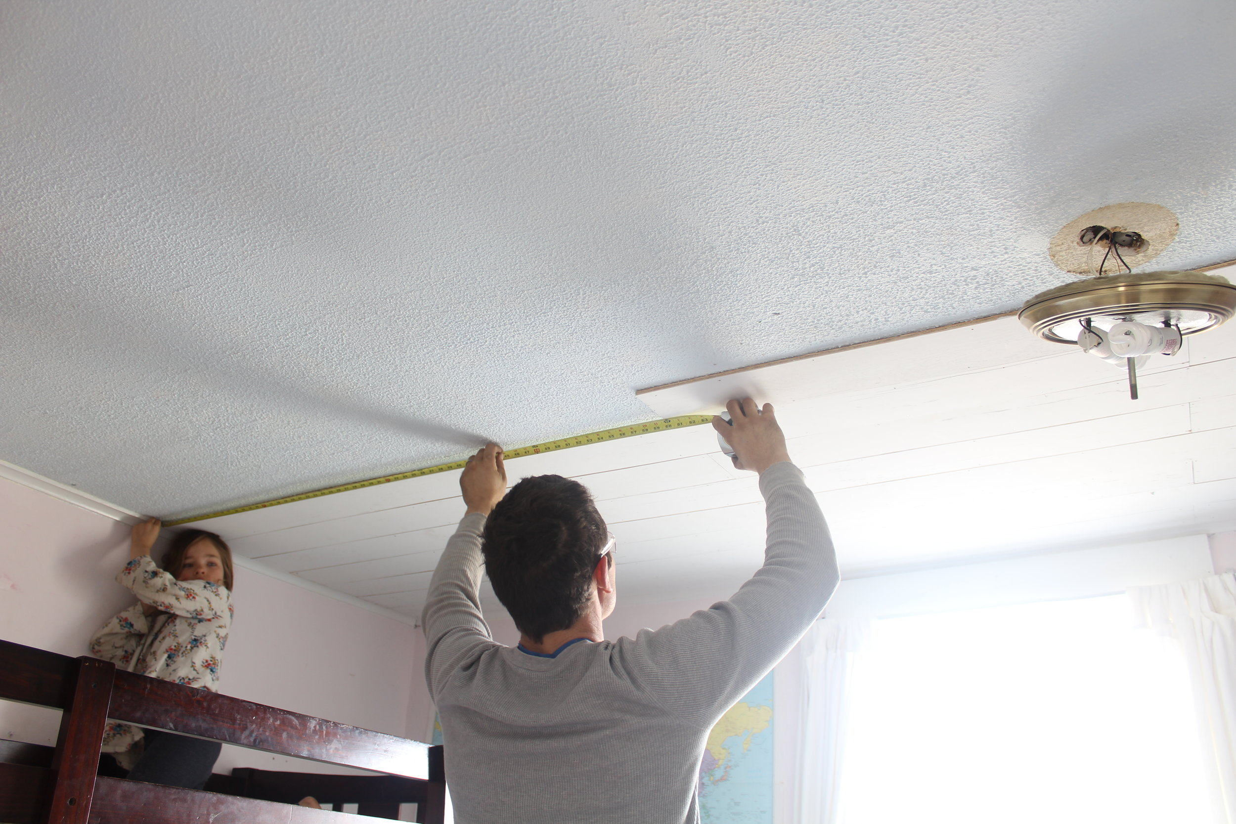 Plywood Plank Ceiling How To Plank A Popcorn Ceiling With Plywood Farmhouse On Boone