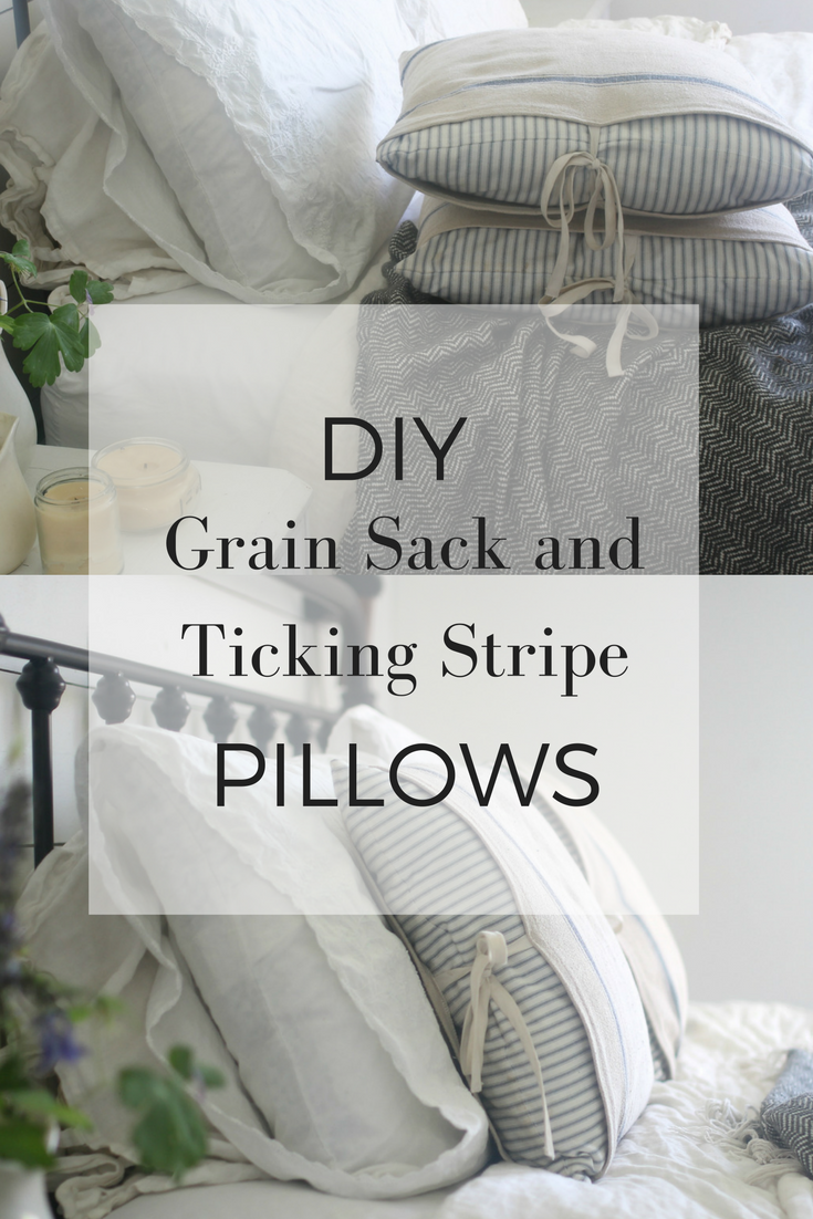 How to make grain sack and ticking stripe pillows