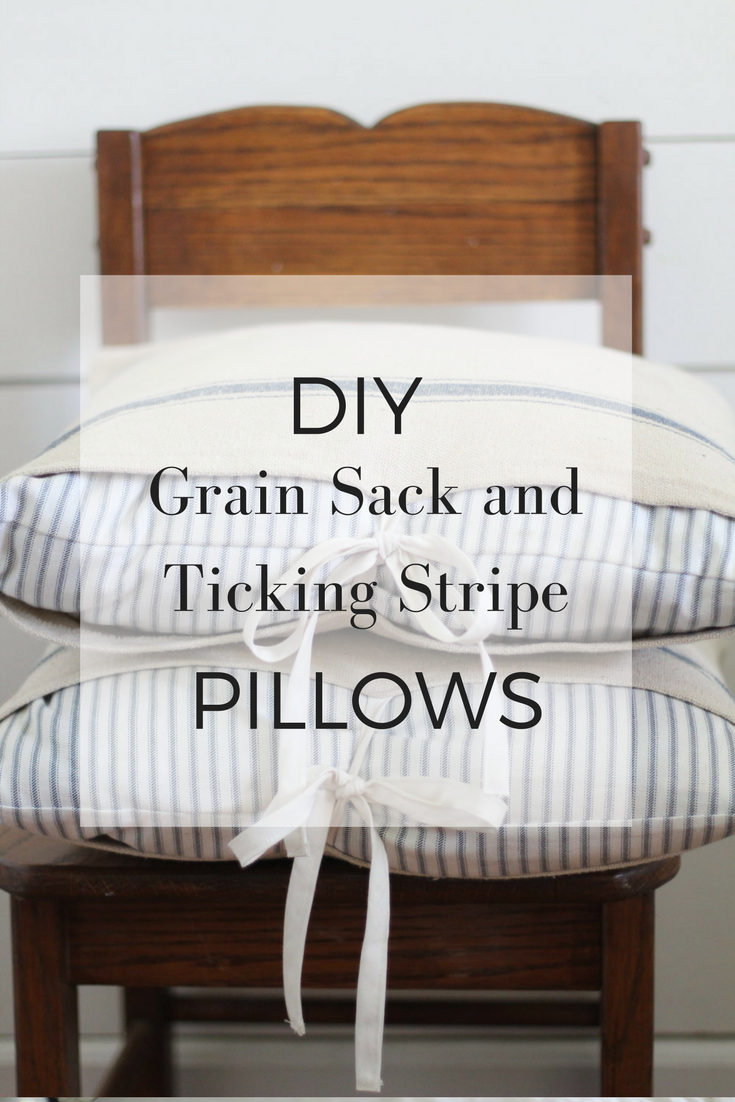 DIY Grain Sack and Ticking Stripe Pillows