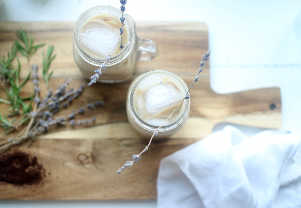 homemade iced lavender latte using essential oils