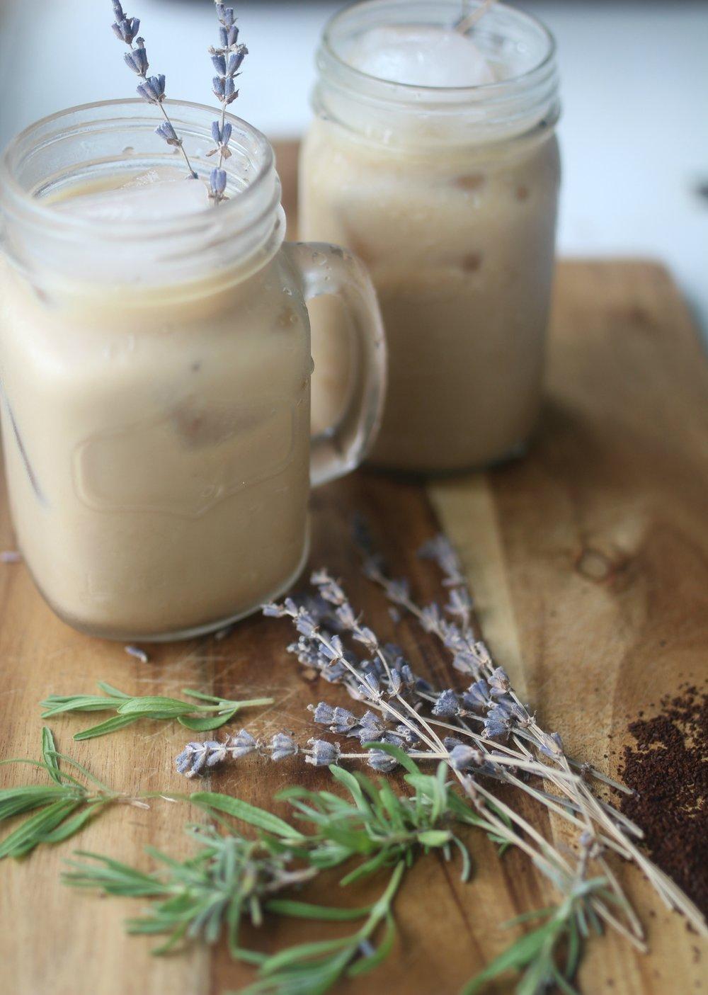 homemade iced lavender latte