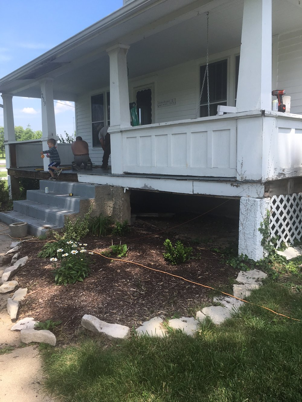 front porch remodel progress