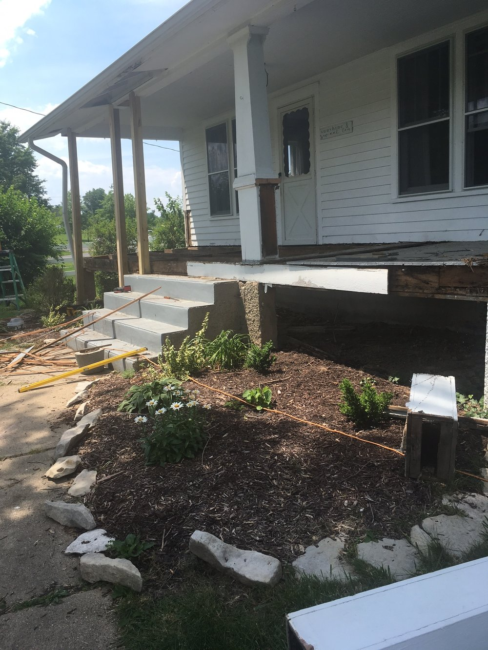 farmhouse front porch remodel progress
