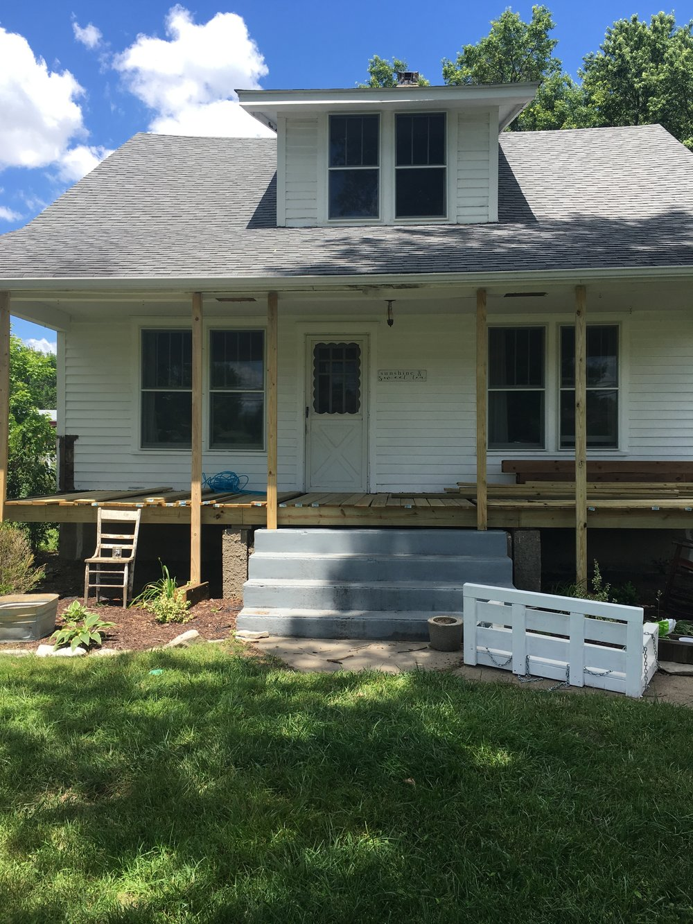 farmhouse front porch progress demo
