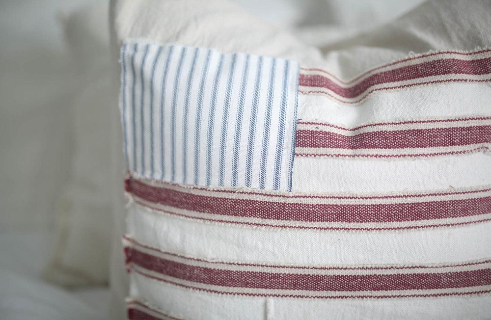scrappy flag farmhouse pillow cover tutorial