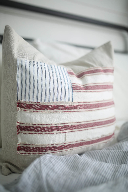 patriotic farmhouse pillow cover tutorial American flag