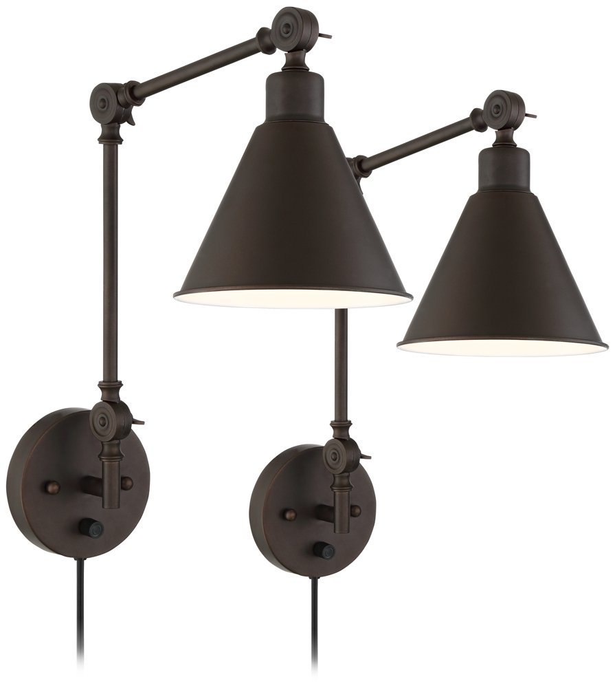 Wray Swing Arm Bronze Wall Lamps