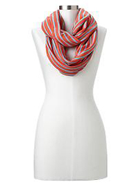 Stripe waffle knit infinity scarf - fire coral