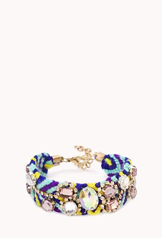 Kitschy Rhinestoned Woven Bracelet