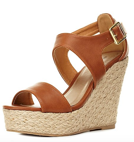 Tan Strappy Wedges