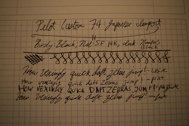Writing Sample on 90g Rhodia