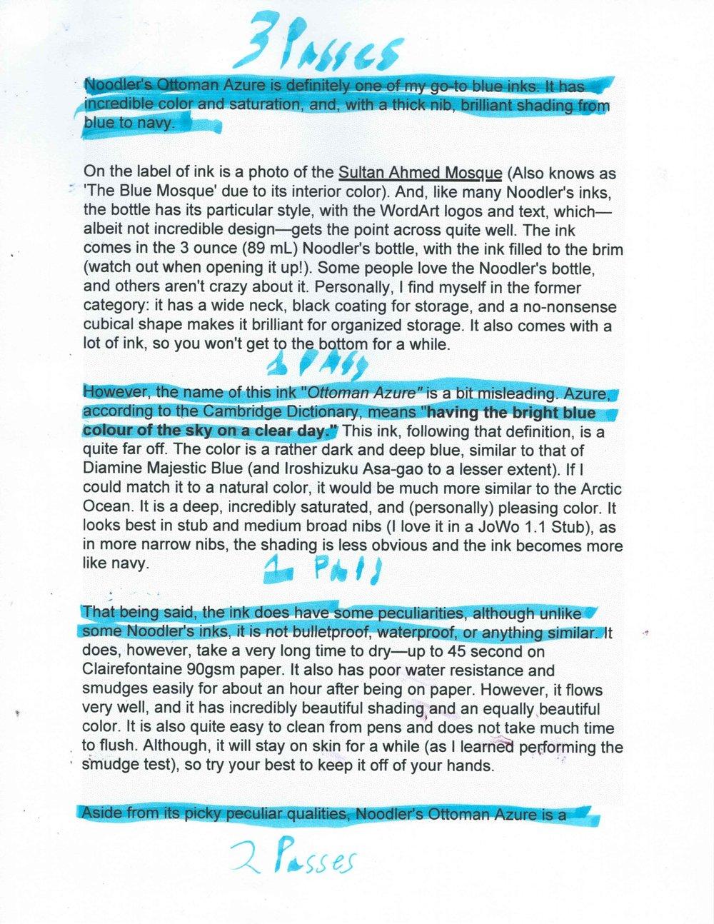 Lightning blue on inkjet copy paper. Pilot Parallel 3.8—3 passes, 1 pass, 1 pass, 2 passes.  Text: Noodler's Ottoman Azure Review