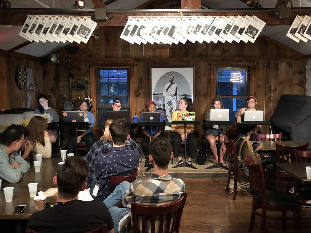 The Command Center Outside of Angel Grove, California  had its first open reading at Blue Gene's Pub at the Eugene O'Neill Theater Center on June 1, 2018. The reading featured (L-R) Jenna Doherty (Stage Directions), Alizae Powell (Blue), Lilly Sheridan (Black), Danielle Phillips (Red), Dani Schlenker (Yellow), Talia Frank-Stempel (Green), and Lydia Faith (Pink).