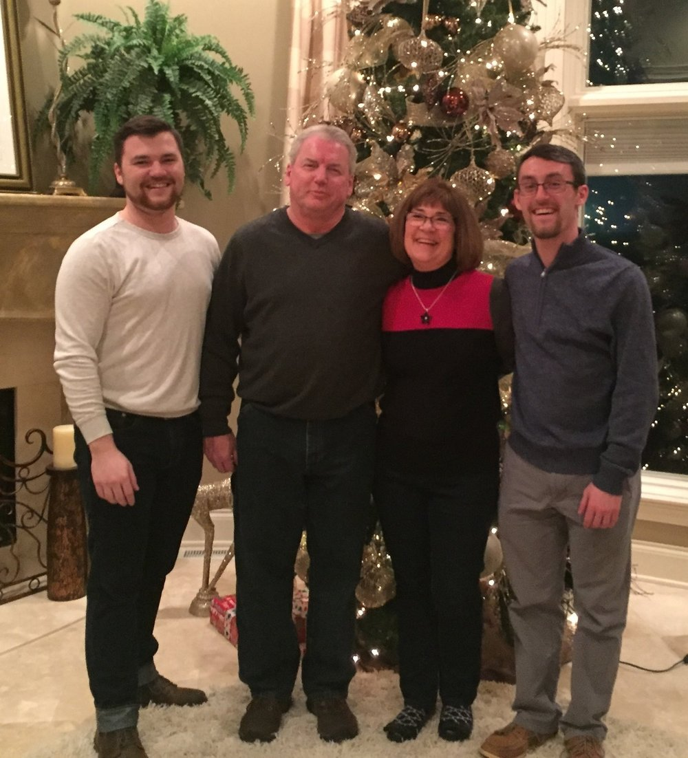 My dad, mom, and brother on Christmas 2016.