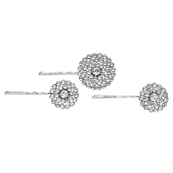"RACHEL Set of 3 hair pins of Swarovski crystals Measurement 1 1/8"", 7/8"" Details: Available in gold and silver finish"