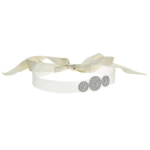 MARILYN Headband of horsehair and silk ribbon with decorative accents of Swarovski crystal Details: Available in gold and silver finish, ivory and white