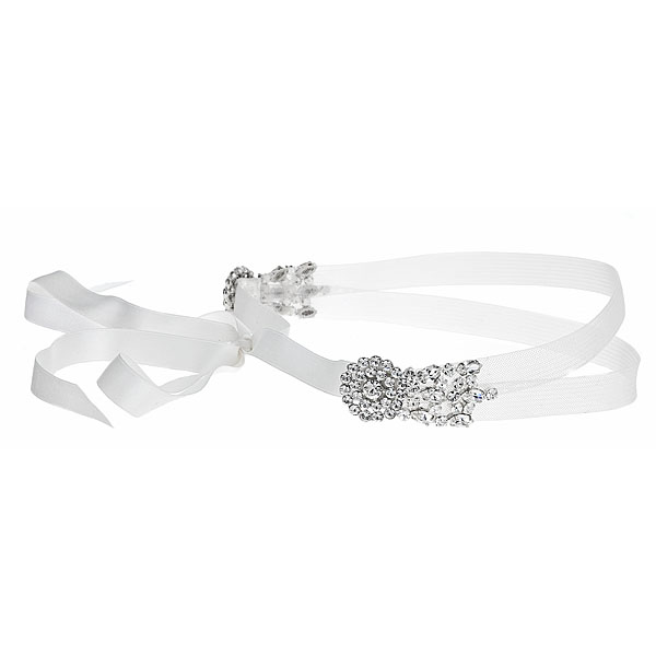 GABRIEL Double-headband of horsehair and silk ribbon with Swarovski crystal accent Details: Available in gold and silver finish, ivory and white