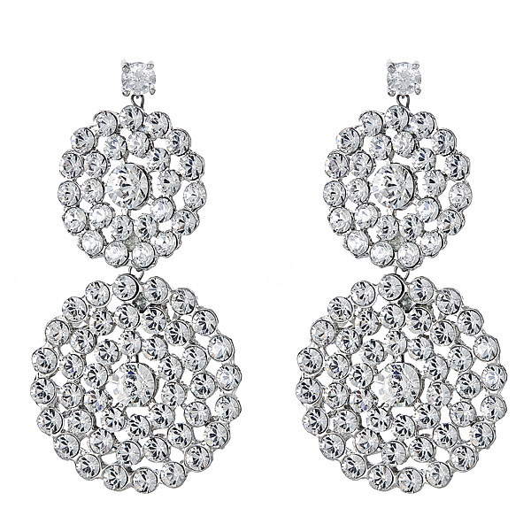 "LIA Earrings of Swarovski crystals Measurement: 2 12"" Details: Available in gold and silver finish"