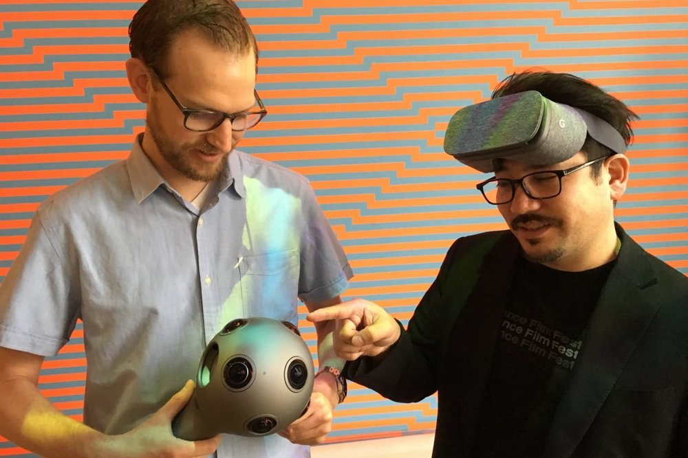 Kevin Ritchie (left) and Ricardo Rivera show off the multi-lens Nokia VR camera and Google eyewear that Klip Collective used to shoot and view their immersive training day video for honeygrow. ( via Jonathan Takiff of Philly.com )