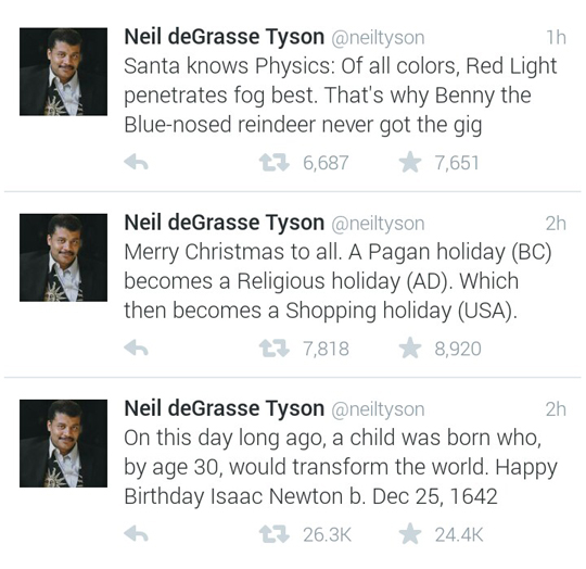 tastefullyoffensive :     Neil deGrasse Tyson on Christmas