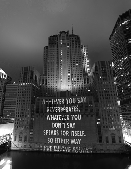 "deadpanaesthetic :       Jenny Holzer ,   Projection at Lyric Opera, Chicago,   November 1, 2008.   Text: ""Children of Our Age"" from View with a Grain of Sand by Wisława Szymborska."