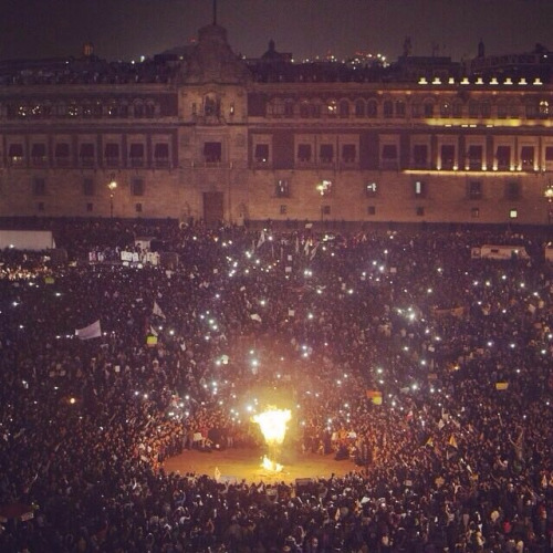 alunaes :      nezua :      stunningpicture :     Current march in Mexico City against the government, taken in the Zocalo. Bring awareness to our cause, please.     Mexicans do not play at Revolution. We were bred from it.     !!!!!!!!!!!!!!!!!!!!!!!!!!!!!!!!!!!