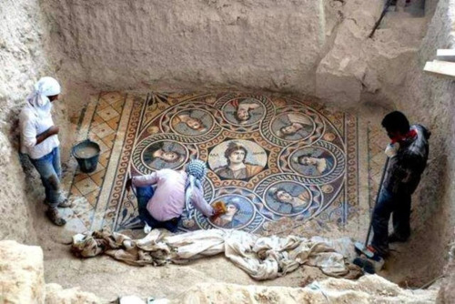 stunningpicture :     This stunning ancient Greek floor mosaic was just excavated in southern Turkey, near the Syrian border.