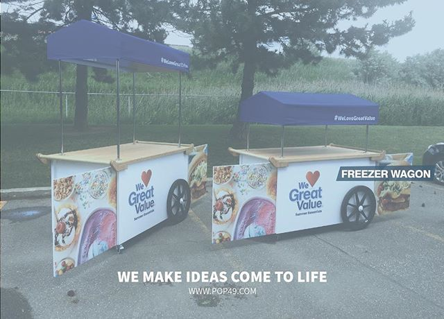 Our Freezer Wagon - Heavy duty event cart with built-in freezer & built-in shelving.  #GV #WM #Freezer#Wagon #Summer #fun #Carts #Food #Samples #Experiential #Marketing #Advertising #Design #Concept #Art #Food #Instadaily #POP49 #Manufacturing #Canadian