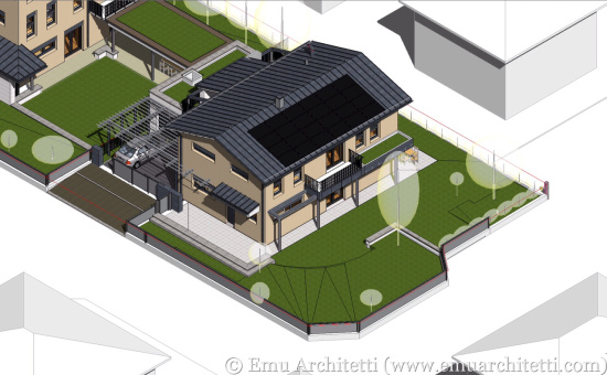 3D model of one of the two passive houses of Cavriago.