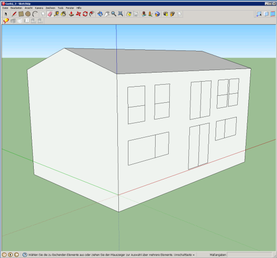 The volume of the thermal envelope of one of the two passive houses of Cavriago, Italy, during the 3D modeling.