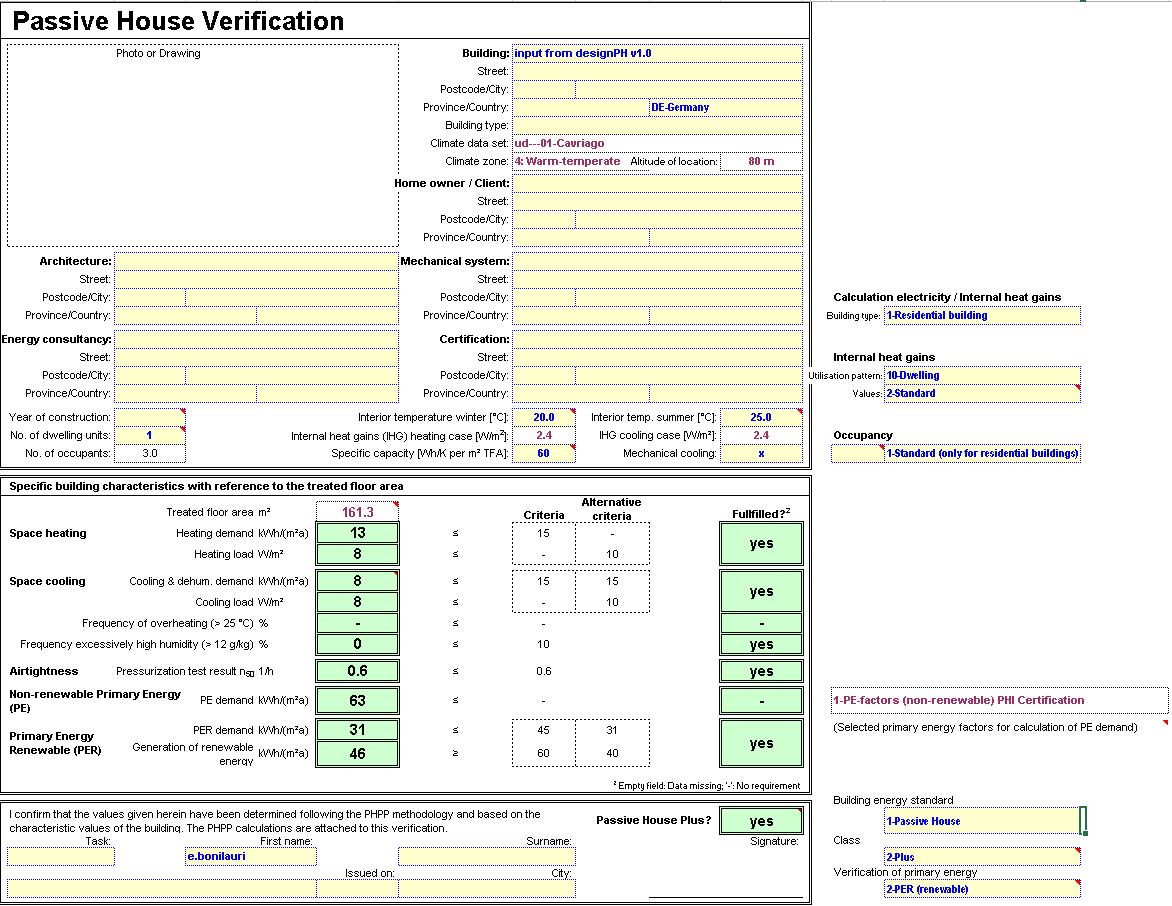 PHPP 9 Verification sheet