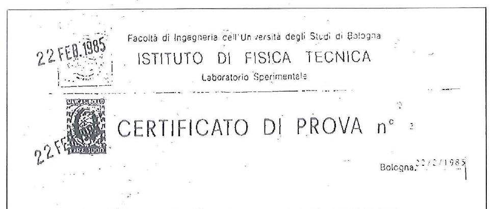 Intestazione certificato
