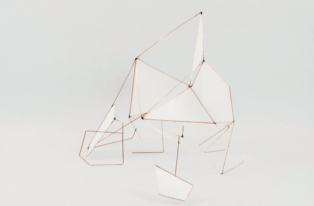 Lucy Oulanova,  Diphylleia I , sculpture, metal and mylar, 2017