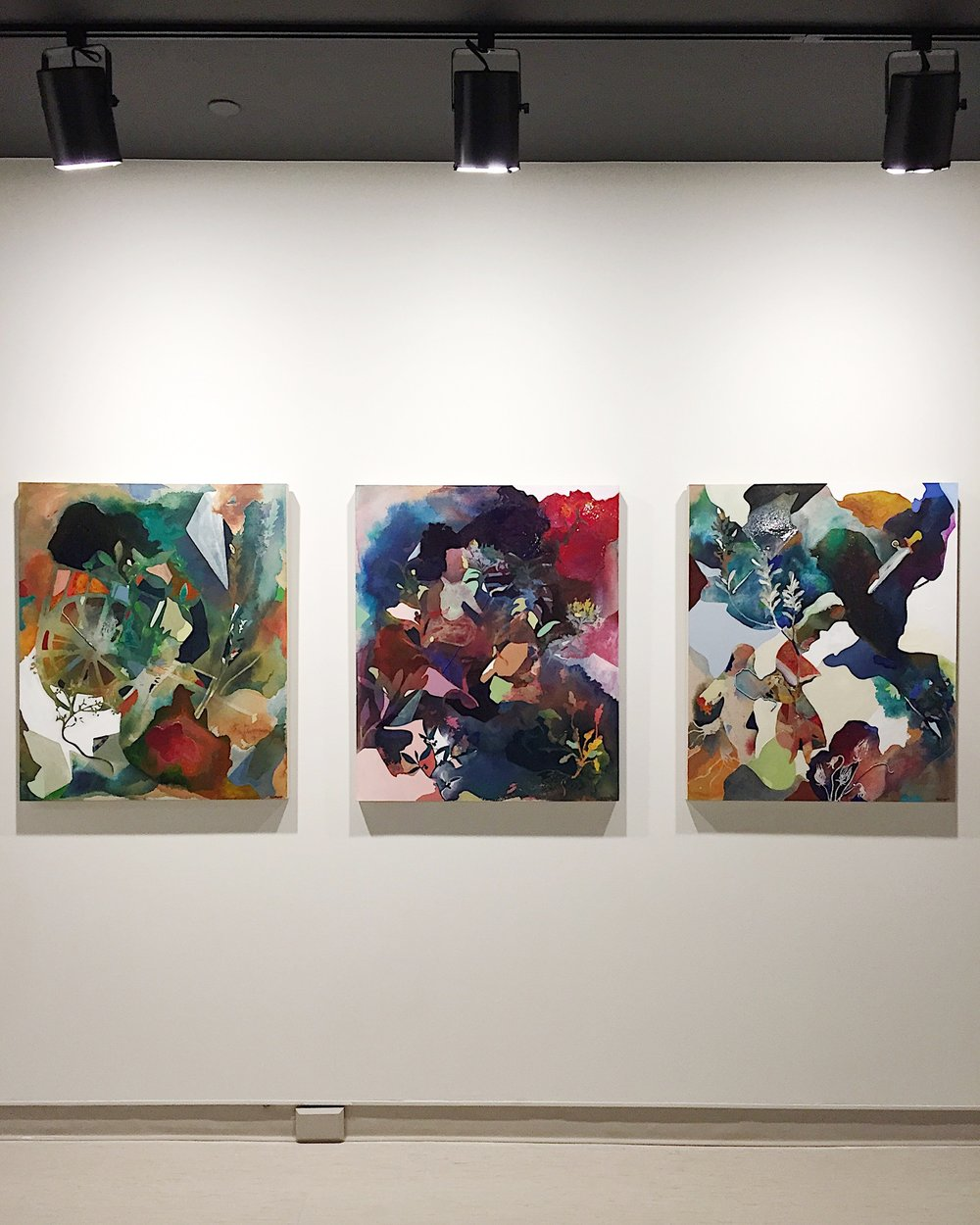 Kelly Duquette, I forgot who I was but now I remember, triptych, paint and beadwork on Belgium linen.