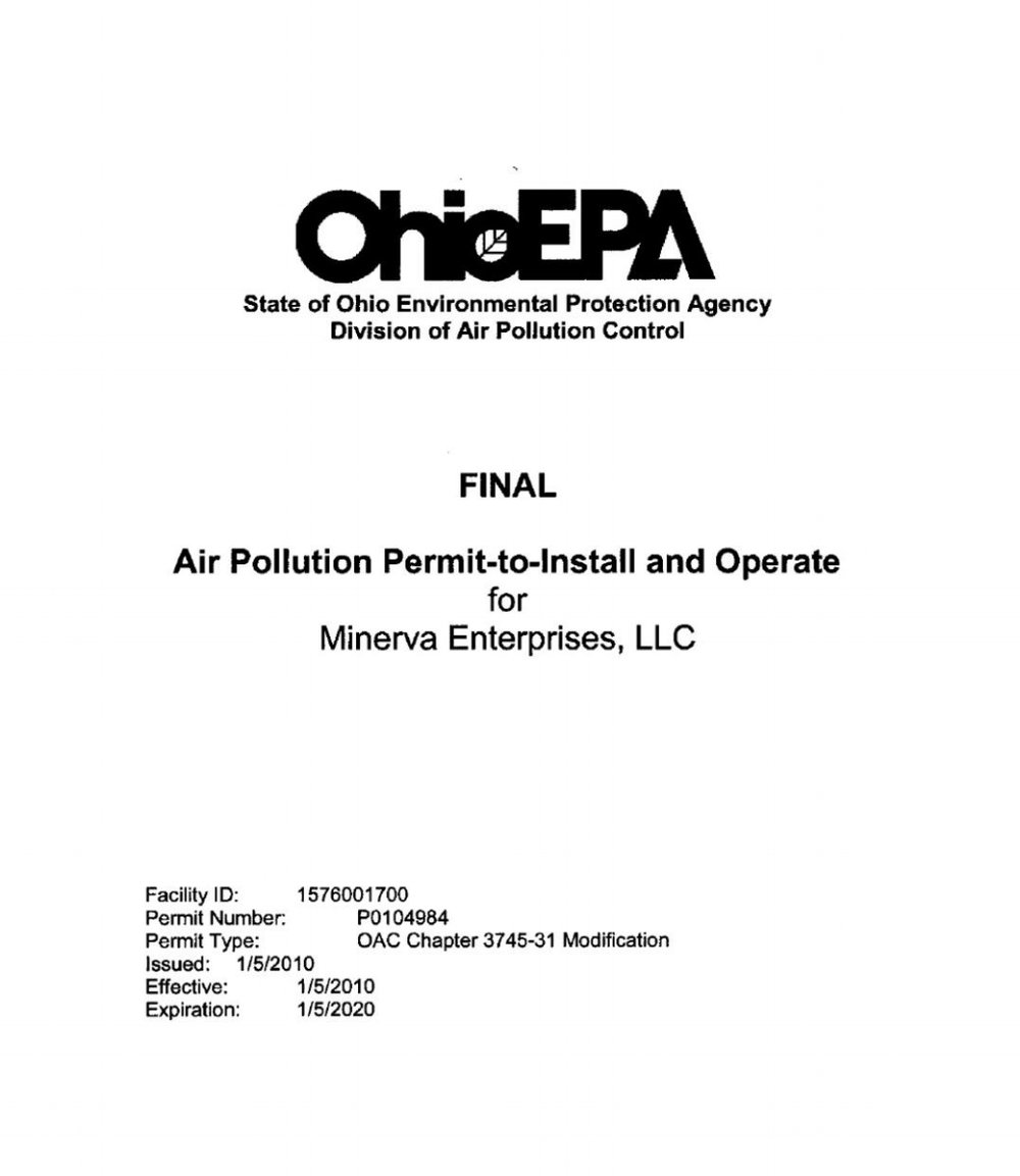AIR POLLUTION PERMIT-TO-INSTALL AND OPERATE