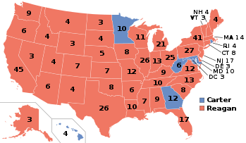 The 1980 Electoral map with red representing states won by Ronald Reagan.
