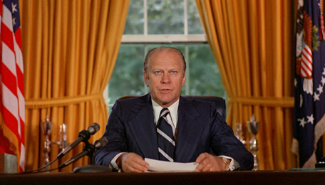 Ford announcing the Nixon pardon.