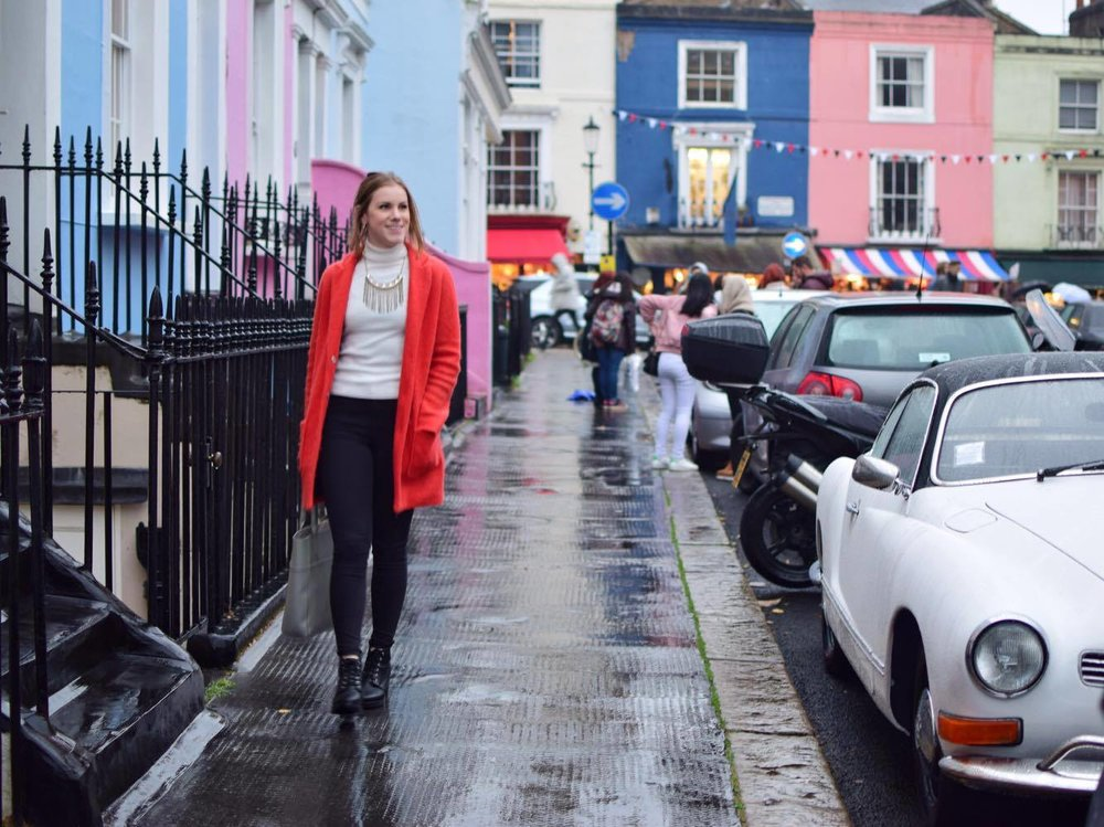 A rainy day in Portobello Market, Nottinghill, where Rosemary works in residential interior design.
