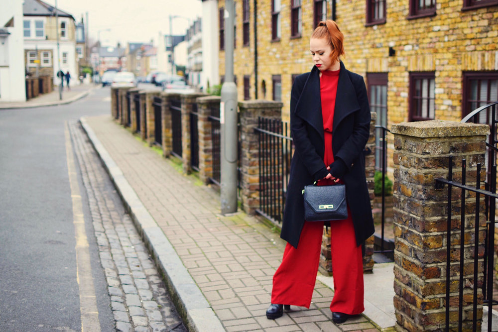 Photos by Glen Livingstone. I'm obsessed with this bold, wide- legged jumpsuit from  Lipsy . I'm also wearing: Miss KG Boots, Coast handbag, marino fingerless gloves from NZ and Ted Baker coat (all linked below).