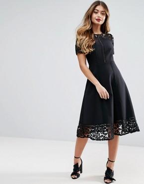 office fashion- ASOS- lace midi skater skirt